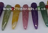 CTD2730 Top drilled 8*35mm bullet agate gemstone beads wholesale