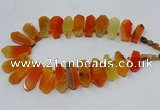 CTD2819 Top drilled 15*30mm - 18*45mm sticks agate gemstone beads