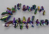 CTD2876 Top drilled 10*20mm - 15*50mm sticks plated quartz beads