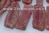 CTD3588 Top drilled 10*20mm - 12*40mm sticks strawberry quartz beads