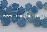 CTD3628 Top drilled 8*10mm - 10*14mm flat teardrop aquamarine beads