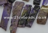 CTD3640 Top drilled 6*15mm - 10*35mm sticks charoite beads