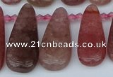 CTD3650 Top drilled 10*20mm - 15*45mm freeform strawberry quartz beads