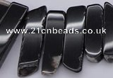 CTD369 Top drilled 10*28mm - 10*50mm wand black agate beads