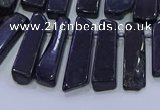 CTD3692 Top drilled 8*18mm - 10*40mm sticks black tourmaline beads