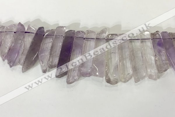CTD3722 Top drilled 8*20mm - 10*50mm sticks light amethyst beads