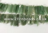 CTD3736 Top drilled 8*20mm - 10*50mm sticks green aventurine beads