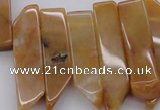 CTD374 Top drilled 10*20mm - 12*50mm wand yellow jade beads