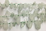 CTD3753 Top drilled 6*12mm - 13*18mm nuggets green quartz beads