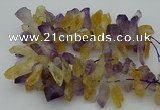 CTD420 Top drilled 12*25mm - 18*40mm nuggets amethyst & citrine beads