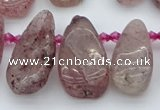 CTD484 Top drilled 10*22mm - 15*45mm freeform strawberry quartz beads