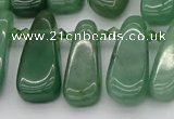 CTD488 Top drilled 10*22mm - 15*45mm freeform green aventurine beads