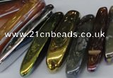 CTD526 Top drilled 10*25mm - 10*60mm wand plated agate beads