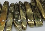 CTD527 Top drilled 10*25mm - 10*60mm wand plated agate beads
