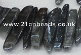 CTD530 Top drilled 10*25mm - 10*60mm wand plated agate beads