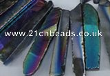 CTD536 Top drilled 10*30mm - 10*65mm wand plated agate beads