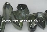 CTD542 Top drilled 10*15mm - 12*30mm nuggets plated quartz beads