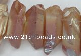 CTD547 Top drilled 12*25mm - 12*45mm nuggets plated quartz beads