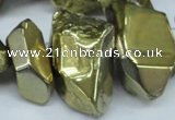 CTD550 Top drilled 10*25mm – 15*35mm nuggets plated quartz beads