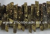 CTD558 Top drilled 6*15mm - 10*40mm wand plated agate beads