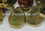 CTD572 Top drilled 20*30mm - 30*45mm freeform plated agate beads