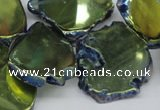 CTD573 Top drilled 20*30mm - 30*45mm freeform plated agate beads