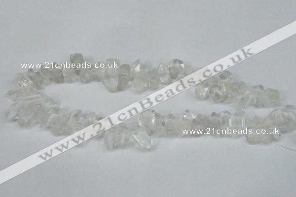 CTD624 Top drilled 8*15mm - 10*25mm faceted nuggets white crystal beads