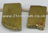 CTD653 Top drilled 15*25mm - 25*40mm freeform plated quartz beads