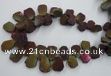 CTD903 Top drilled 15*20mm - 20*30mm freeform plated quartz beads