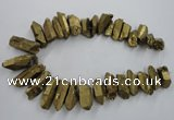 CTD924 Top drilled 15*20mm - 18*38mm wand plated quartz beads