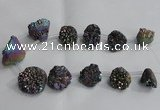 CTD993 Top drilled 12*15mm - 18*25mm nuggets plated druzy agate beads