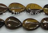 CTE100 15.5 inches 13*18mm flat teardrop yellow tiger eye beads