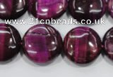 CTE1006 15.5 inches 20mm flat round dyed red tiger eye beads