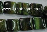 CTE1072 15.5 inches 15*15mm square dyed green tiger eye beads