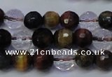 CTE1131 15 inches 6mm faceted round mixed tiger eye & white crystal beads