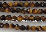CTE1195 15.5 inches 4mm faceted round yellow tiger eye beads