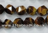 CTE1203 15 inches 12mm faceted nuggets yellow tiger eye beads