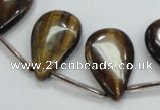 CTE125 16*26mm top-drilled flat teardrop yellow tiger eye beads wholesale