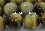 CTE1448 15.5 inches 20mm round golden & blue tiger eye beads