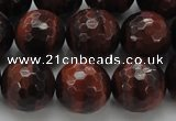 CTE1466 15.5 inches 16mm faceted round red tiger eye beads