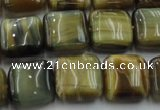 CTE1564 15.5 inches 12*12mm square golden & blue tiger eye beads wholesale