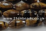 CTE1580 15.5 inches 8*12mm faceted rice yellow tiger eye beads