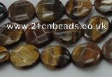 CTE1724 15.5 inches 10mm faceted coin yellow tiger eye beads