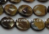 CTE1725 15.5 inches 12mm faceted coin yellow tiger eye beads