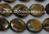 CTE1726 15.5 inches 14mm faceted coin yellow tiger eye beads