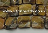 CTE1732 15.5 inches 12*12mm faceted square yellow tiger eye beads