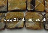 CTE1736 15.5 inches 20*20mm faceted square yellow tiger eye beads