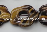 CTE1746 15.5 inches 34mm carved flower yellow tiger eye beads