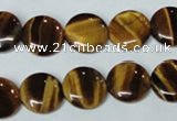 CTE176 15.5 inches 12mm flat round yellow tiger eye gemstone beads