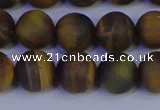 CTE1814 15.5 inches 12mm round matte yellow iron tiger beads